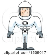 Clipart Of A Happy Buff Caucasian Male Astronaut Royalty Free Vector Illustration