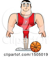 Clipart Of A Happy Buff Caucasian Male Basketball Player Royalty Free Vector Illustration