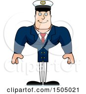 Clipart Of A Happy Buff Caucasian Male Sea Captain Royalty Free Vector Illustration