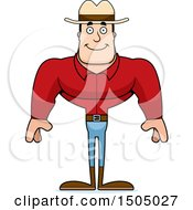 Clipart Of A Happy Buff Caucasian Male Cowboy Royalty Free Vector Illustration