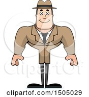 Clipart Of A Happy Buff Caucasian Male Detective Royalty Free Vector Illustration