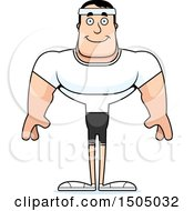 Clipart Of A Happy Buff Caucasian Male Fitness Guy Royalty Free Vector Illustration