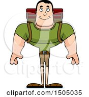 Clipart Of A Happy Buff Caucasian Male Hiker Royalty Free Vector Illustration