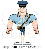 Clipart Of A Happy Buff Caucasian Male Postal Worker Royalty Free Vector Illustration