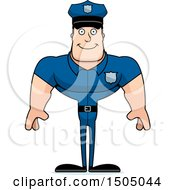 Clipart Of A Happy Buff Caucasian Male Police Officer Royalty Free Vector Illustration