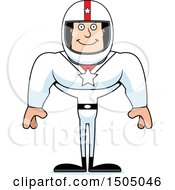 Clipart Of A Happy Buff Caucasian Male Race Car Driver Royalty Free Vector Illustration