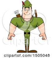Clipart Of A Happy Buff Caucasian Male Archer Or Robin Hood Royalty Free Vector Illustration