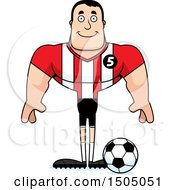 Clipart Of A Happy Buff Caucasian Male Soccer Player Athlete Royalty Free Vector Illustration