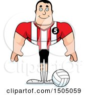 Clipart Of A Happy Buff Caucasian Male Volleyball Player Royalty Free Vector Illustration