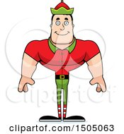 Clipart Of A Happy Buff Caucasian Male Christmas Elf Royalty Free Vector Illustration