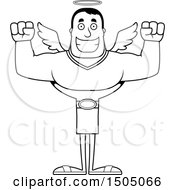 Poster, Art Print Of Black And White Cheering Buff Male Angel