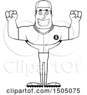 Poster, Art Print Of Black And White Cheering Buff Male Baseball Player