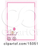 Cute Little Caucasian Baby Girl Holding A Balloon In A Pink Baby Carriage On A Pink And White Checkered Stationery Frame