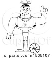 Poster, Art Print Of Black And White Drunk Buff Male Basketball Player
