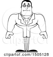 Clipart Of A Black And White Bored Buff Male Scientist Royalty Free Vector Illustration