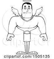 Poster, Art Print Of Black And White Bored Buff Male Angel