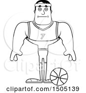 Poster, Art Print Of Black And White Bored Buff Male Basketball Player