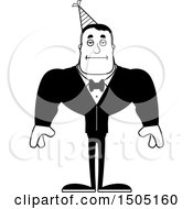 Clipart Of A Black And White Bored Buff Party Man Royalty Free Vector Illustration