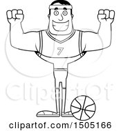 Poster, Art Print Of Black And White Cheering Buff Male Basketball Player