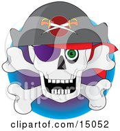Pirates Skull And Crossbones With A Hat Eye Patch And Green Eye Clipart Illustration by Maria Bell