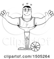 Poster, Art Print Of Black And White Buff Male Basketball Player With Open Arms