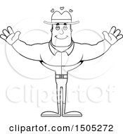 Clipart Of A Black And White Buff Male Cowboy With Open Arms Royalty Free Vector Illustration