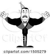 Clipart Of A Black And White Scared Buff Party Man Royalty Free Vector Illustration
