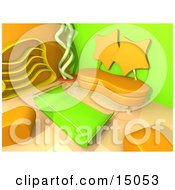 Modern Living Room Or Office Lobby Interior With Two Orange Seat Clipart Graphic