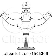 Clipart Of A Black And White Buff Man In Winter Apparel With Open Arms And Hearts Royalty Free Vector Illustration