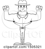 Clipart Of A Black And White Mad Buff Male Cowboy Royalty Free Vector Illustration