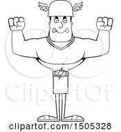 Clipart Of A Black And White Mad Buff Male Hermes Royalty Free Vector Illustration
