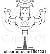 Clipart Of A Black And White Mad Buff Male Jester Royalty Free Vector Illustration