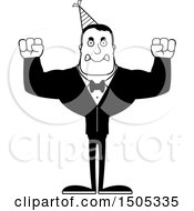Clipart Of A Black And White Mad Buff Party Man Royalty Free Vector Illustration