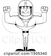 Clipart Of A Black And White Mad Buff Male Race Car Driver Royalty Free Vector Illustration