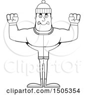 Clipart Of A Black And White Mad Buff Man In Winter Apparel Royalty Free Vector Illustration