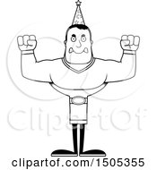 Clipart Of A Black And White Mad Buff Male Wizard Royalty Free Vector Illustration