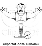 Poster, Art Print Of Black And White Scared Buff Male Basketball Player