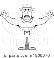 Clipart Of A Black And White Scared Buff Male Cowboy Royalty Free Vector Illustration