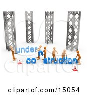 Group Of Orange Men Working Together To Build A New Website That Clipart Graphic