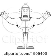 Clipart Of A Black And White Scared Buff Man In Winter Apparel Royalty Free Vector Illustration