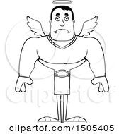 Poster, Art Print Of Black And White Sad Buff Male Angel