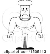 Clipart Of A Black And White Sad Buff Male Chef Royalty Free Vector Illustration