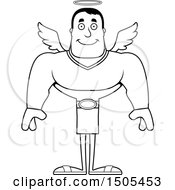 Poster, Art Print Of Black And White Happy Buff Male Angel