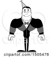 Clipart Of A Black And White Happy Buff Party Man Royalty Free Vector Illustration