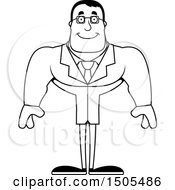 Clipart Of A Black And White Happy Buff Male Scientist Royalty Free Vector Illustration