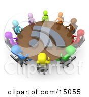 Diverse Group Of Colorful Business People Seated At A Round Conference Table During A Business Meeting In An Office