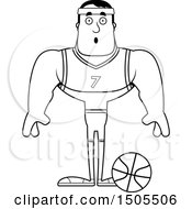 Clipart Of A Black And White Surprised Buff Male Basketball Player Royalty Free Vector Illustration