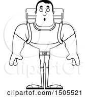 Clipart Of A Black And White Surprised Buff Male Hiker Royalty Free Vector Illustration