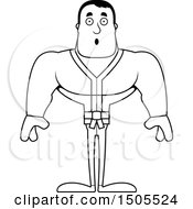 Clipart Of A Black And White Surprised Buff Karate Man Royalty Free Vector Illustration