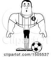 Clipart Of A Black And White Surprised Buff Male Soccer Player Athlete Royalty Free Vector Illustration